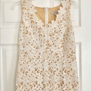 LOFT white lace sheath vneck dress 4